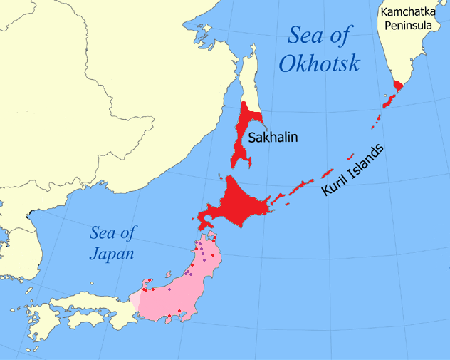 Historically attested range and probable former range of Ainu languages