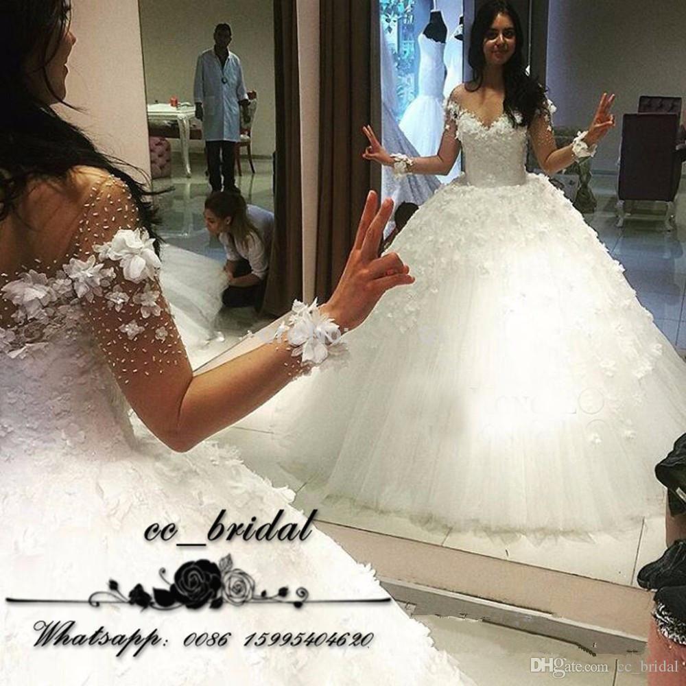 Elegant off shoulder lace bridal wedding dresses sheer long