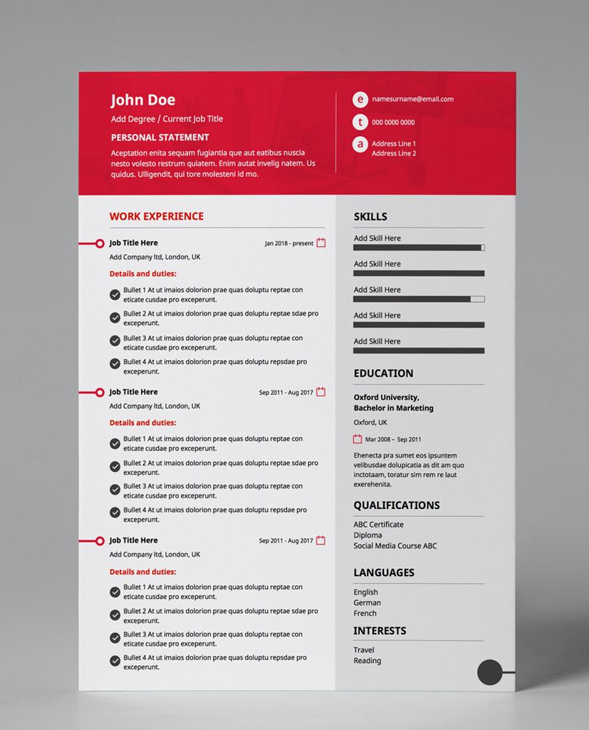 Best Resume Templates Buy Striking Red 1 Page Amendable Pdf