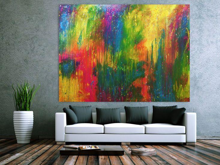 modernes gemalde sehr bunt abstrakt viele farben 150x200cm von alex zerr moderne abstrakte kunst malerei malen nach zahlen körper