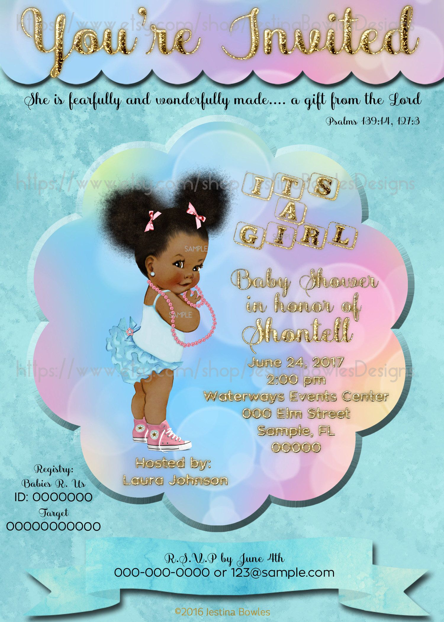 Baby Shower Invitation, African American Baby Girl Shower Invitation ...