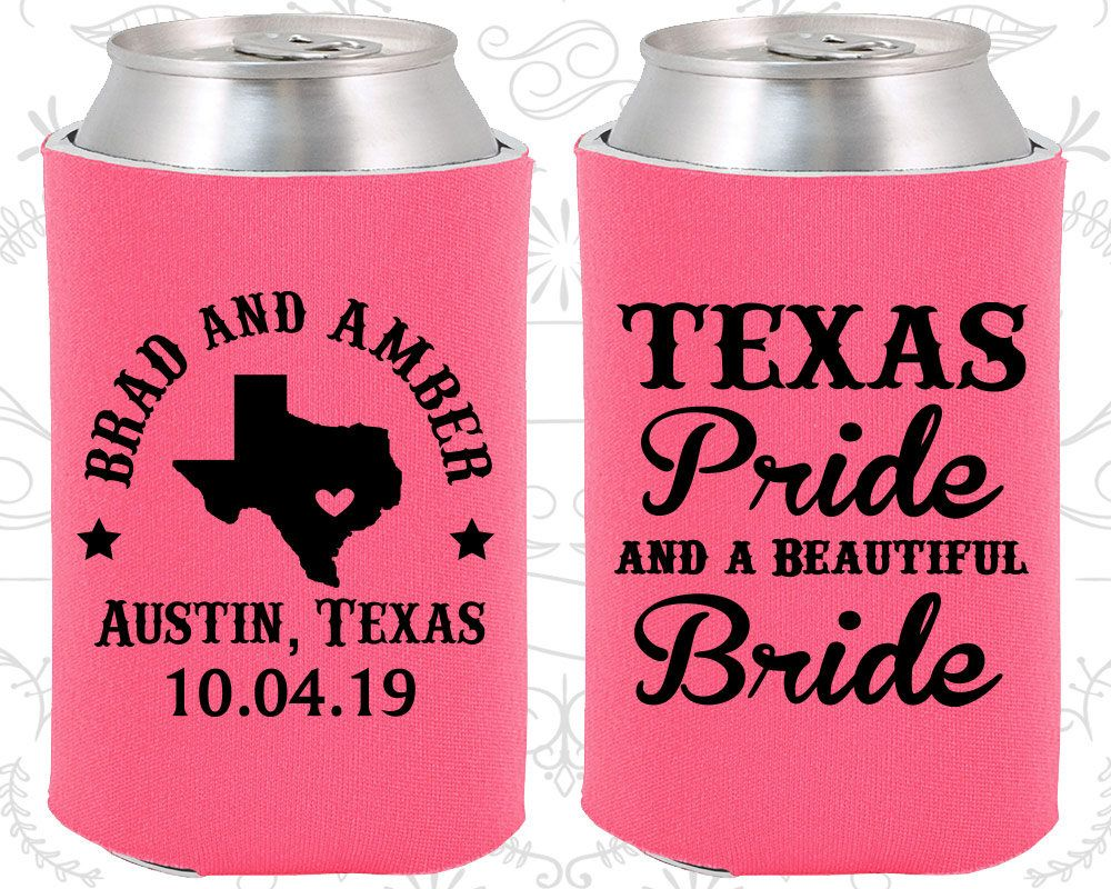 Neon Pink Wedding, Neon Pink Can Coolers, Neon Pink Wedding Favors ...