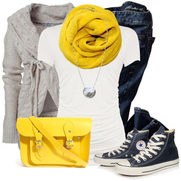 """Pop of Yellow"" by wishlist123 on Polyvore  look università"