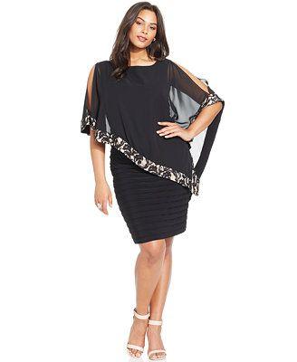 b2b51989c10a Xscape Plus Size Lace-Trim Capelet Dress Kjoler I Store Størrelser