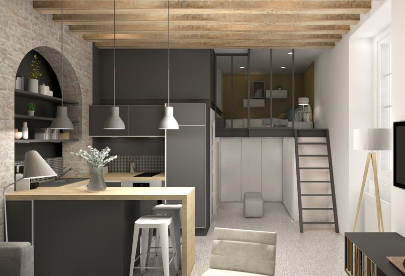 Renovation amenagement appartement lyon decoration travaux chantier mezzanine architecture - Idee deco piece a vivre ...