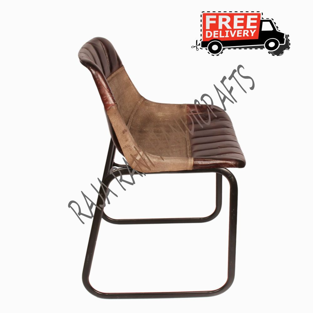 INDUSTRIAL STYLE DINING CHAIR LEATHER & CANVAS CHAIR METAL DINING CHAIRS 7721 A