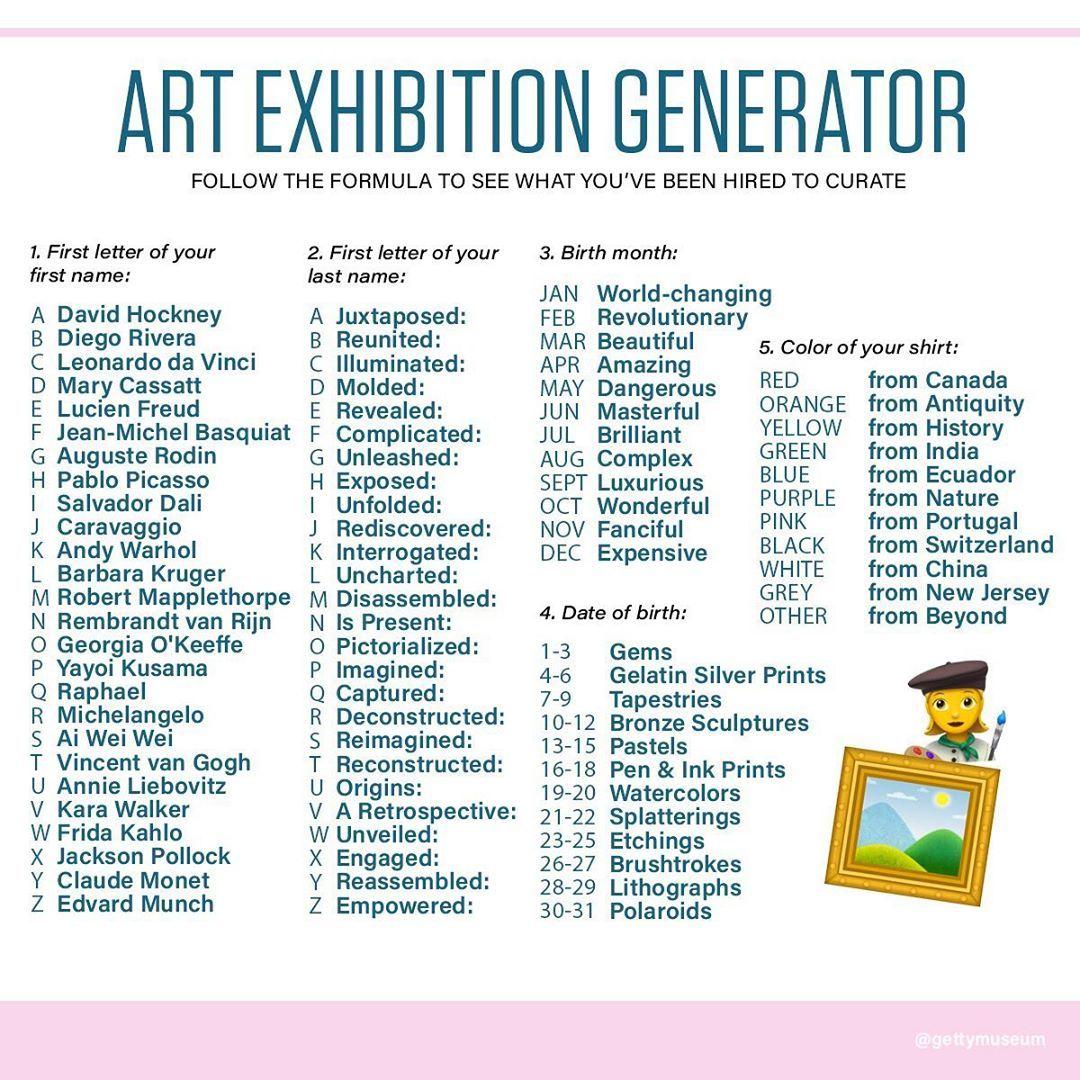 "Getty Museum On Instagram: ""ART EXHIBITION GENERATOR The"