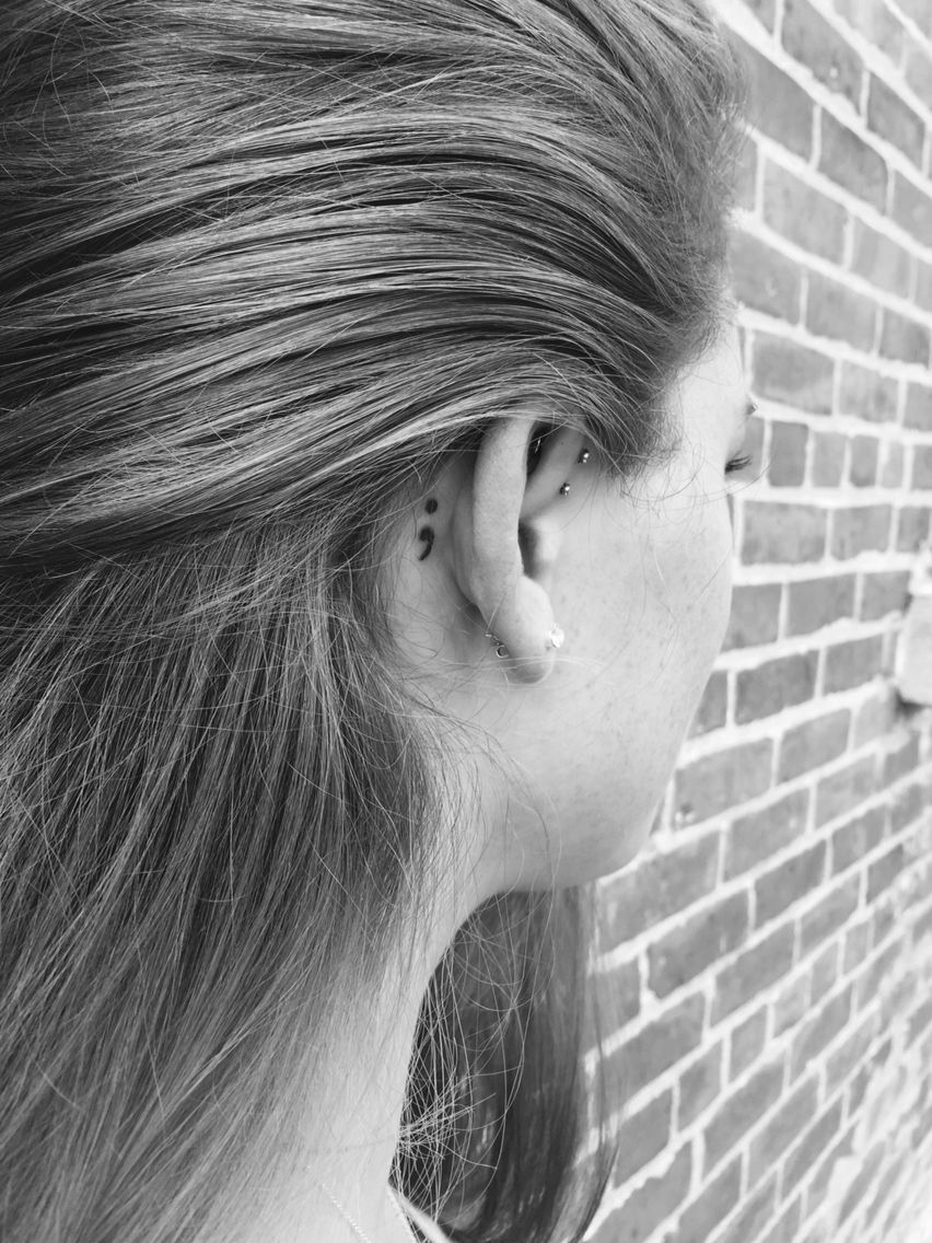 Post malone nose piercing  Semicolon tattoo Behind the ear SemicolonProject  Ink