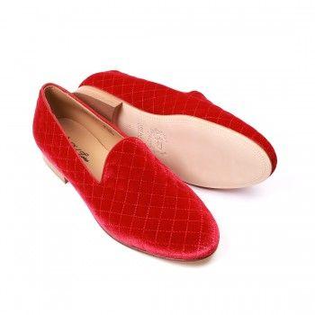Men's Red Velvet Quilted Slipper