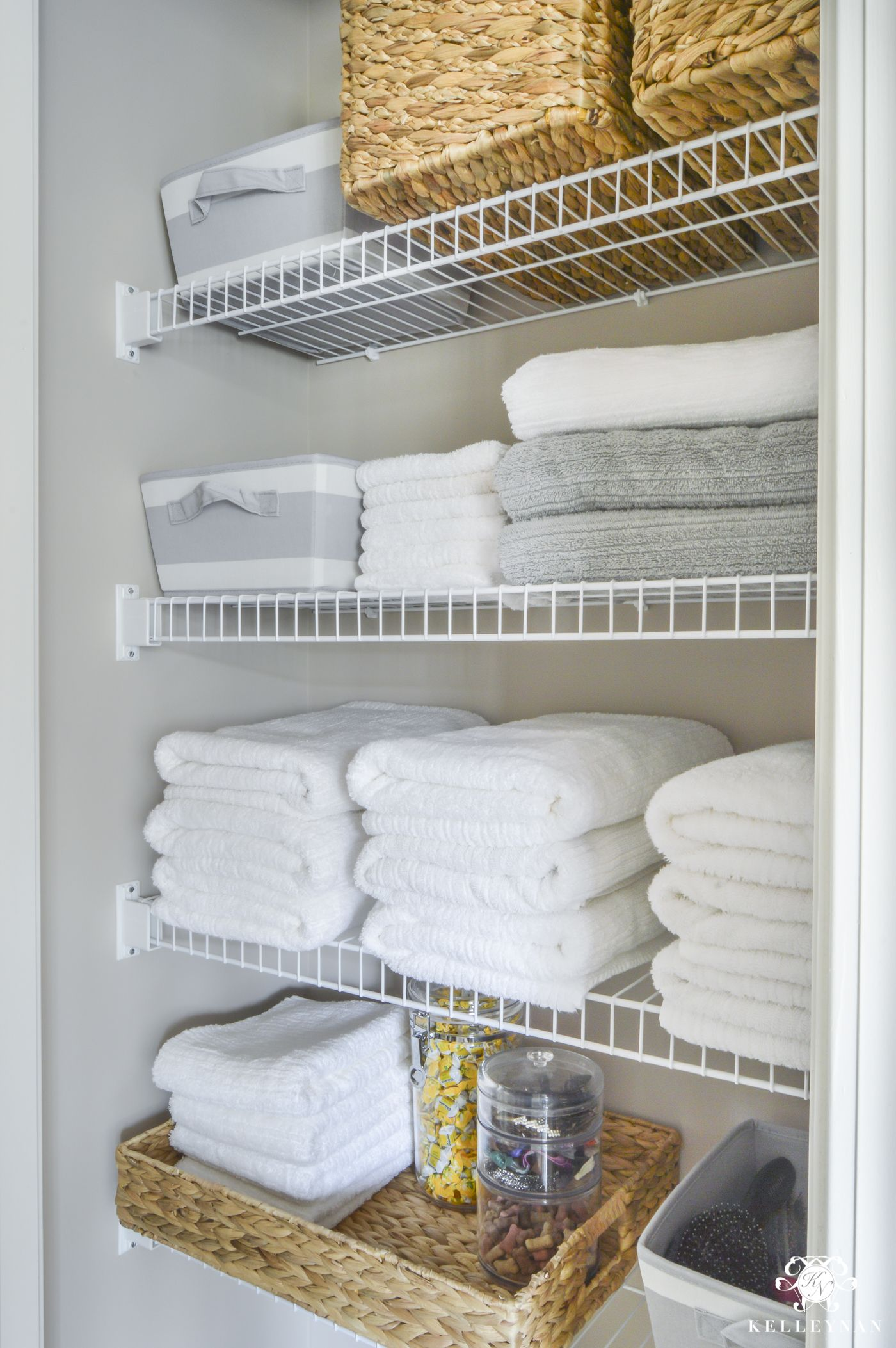 Superbe Organized Bathroom Linen Closet Anyone Can Have   Kelley Nan  Elfa Door  System With Medicine Storage Solution
