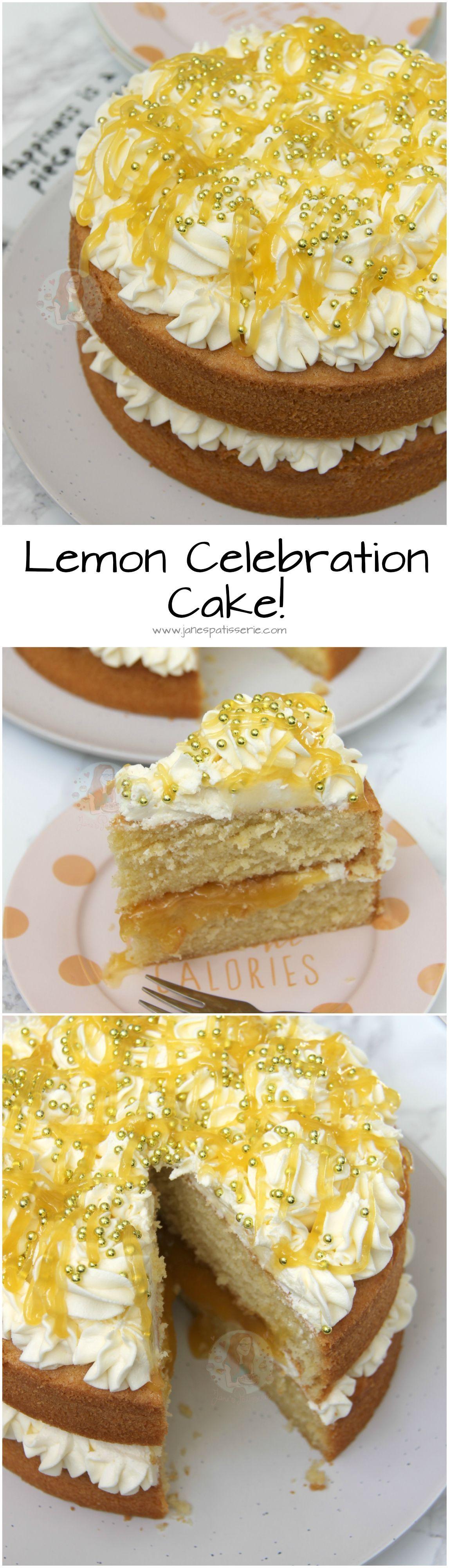 Lemon Celebration Cake! ❤️ A Delicious, Light & Lemony Sponge filled with a dash of Lemon Curd, and a Luscious Lemon Buttercream! #lemonbuttercream Lemon Celebration Cake! ❤️ A Delicious, Light & Lemony Sponge filled with a dash of Lemon Curd, and a Luscious Lemon Buttercream! #lemonbuttercream