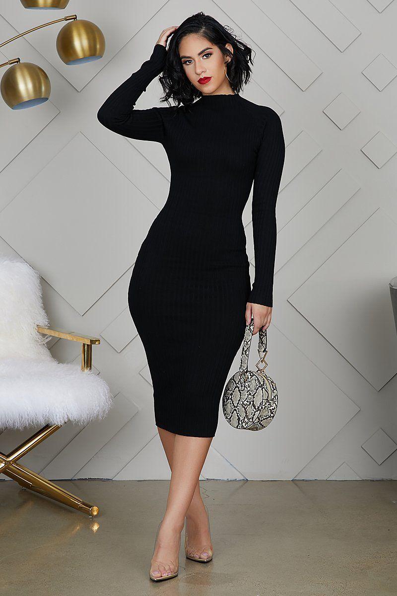 Fitted Knit Midi Dress Black Dressesblack Black Dresses Classy Classy Dress Beautiful Black Dresses [ 1200 x 800 Pixel ]