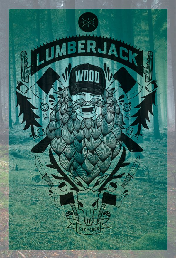 Designinspiration lumberjack art artwork beard beards bearded man men woodsman paul bunyan print