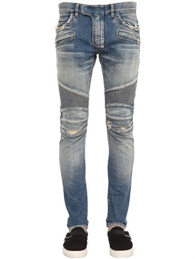 BALMAIN - 17CM BIKER DESTROYED STRETCH DENIM JEANS - LUISAVIAROMA - LUXURY SHOPPING WORLDWIDE SHIPPING - FLORENCE