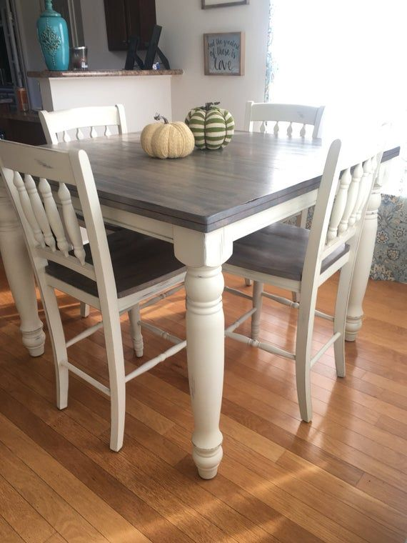 Adjustable Counter Height Farmhouse Kitchen Dining Table Set