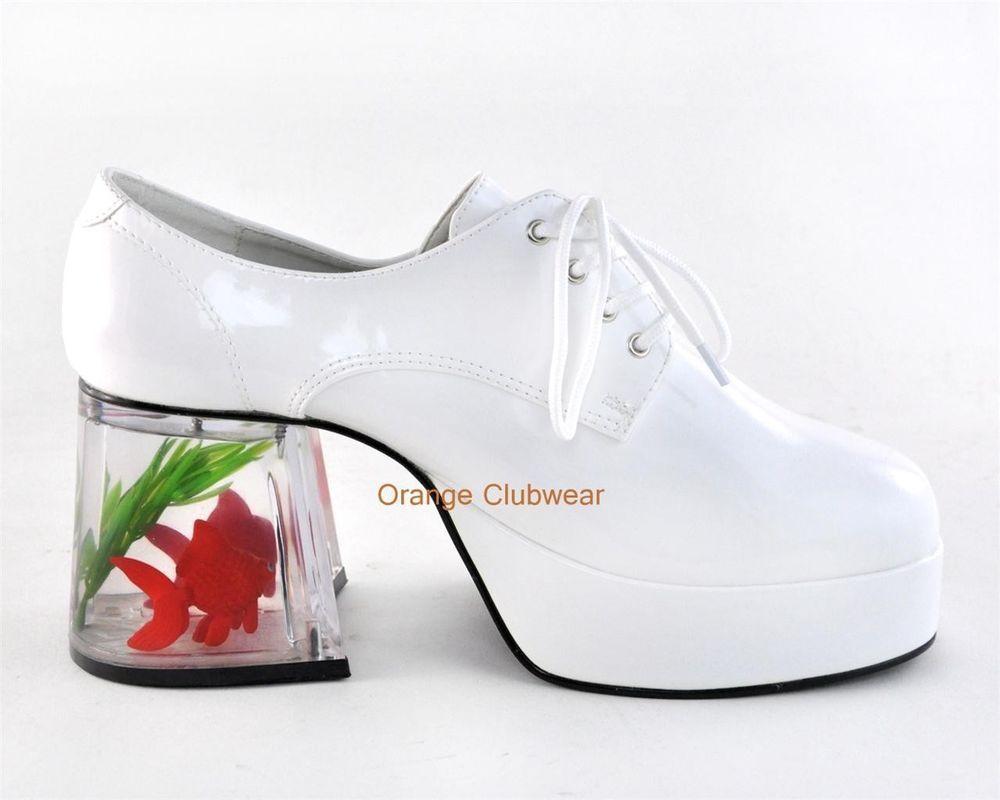 5c1cfaf4877 Mens Daddy Pimp Costume Goldfish Platform White Halloween Costume Shoes
