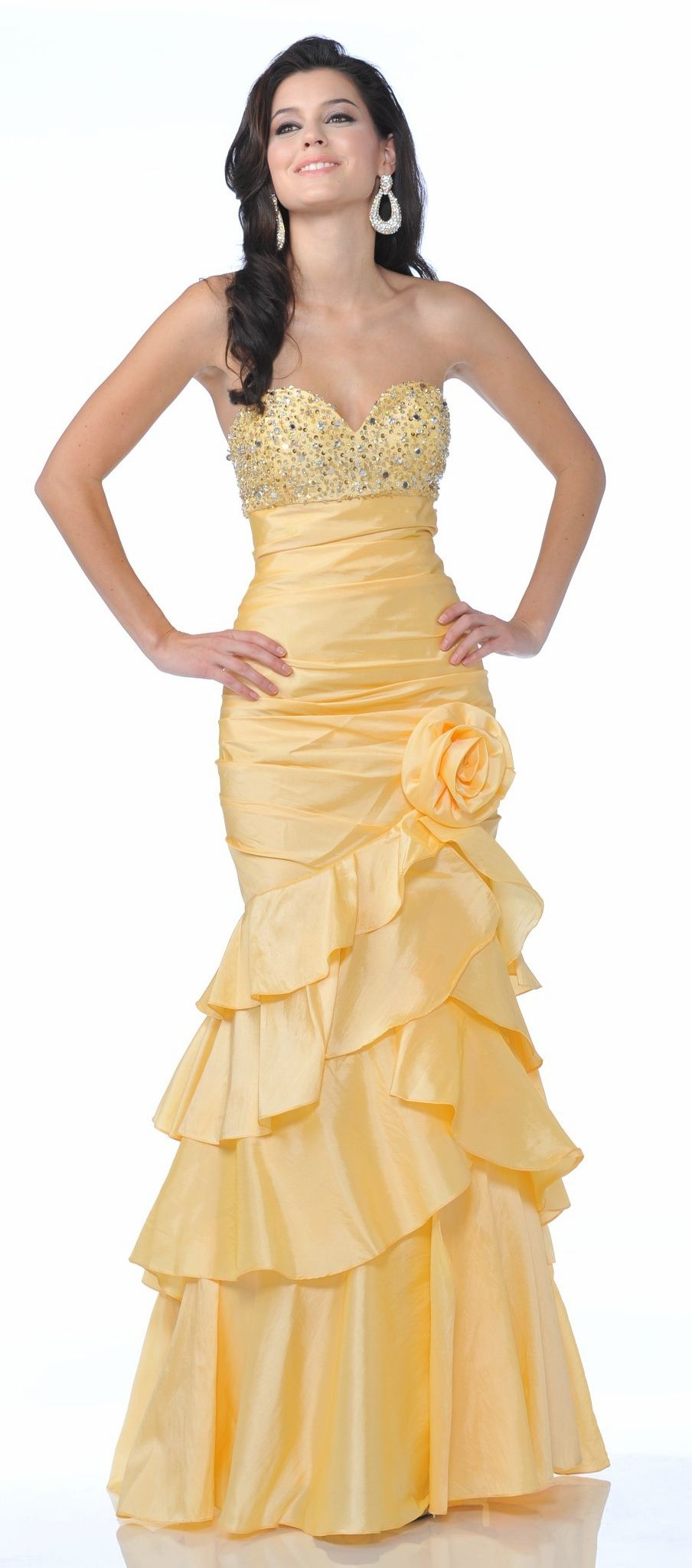 Yellow mermaid prom gown strapless rhinestone bodice long tier layer
