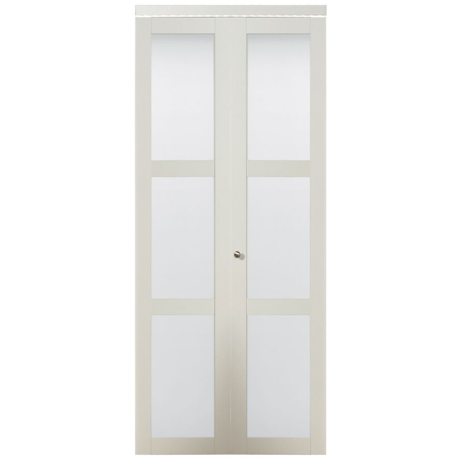 Shop Kingstar 30 In X 6 Ft 8 1 2 In White 3 Lite Solid Core Tempered Frosted Glass Bifold Closet Door At Glass Closet Bifold Closet Doors Sliding Closet Doors