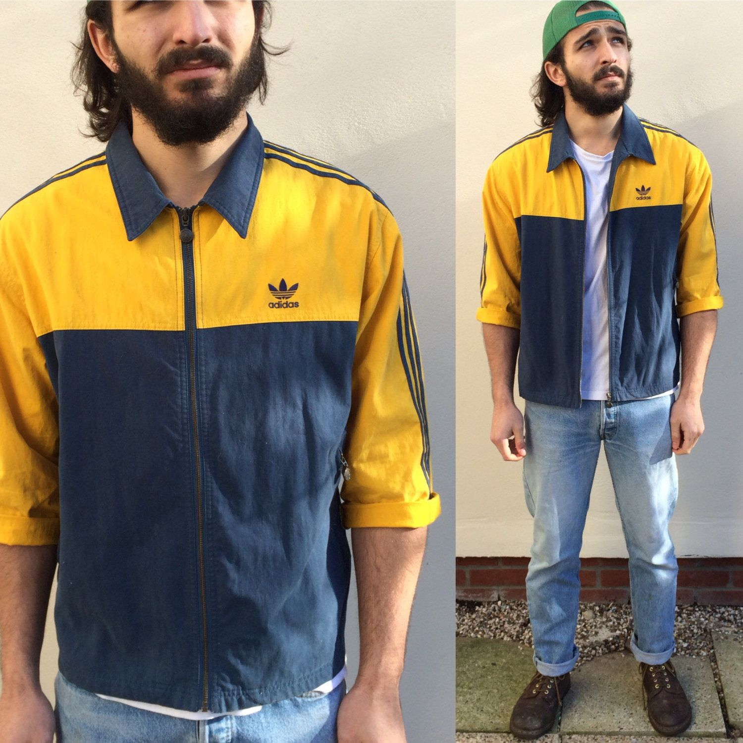 Vintage Adidas Zip Tracksuit Top Jacket. Cotton Rugby