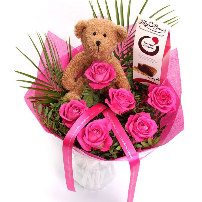 Personalised Pink Rose Bouquet With Teddy & Chocolates ...