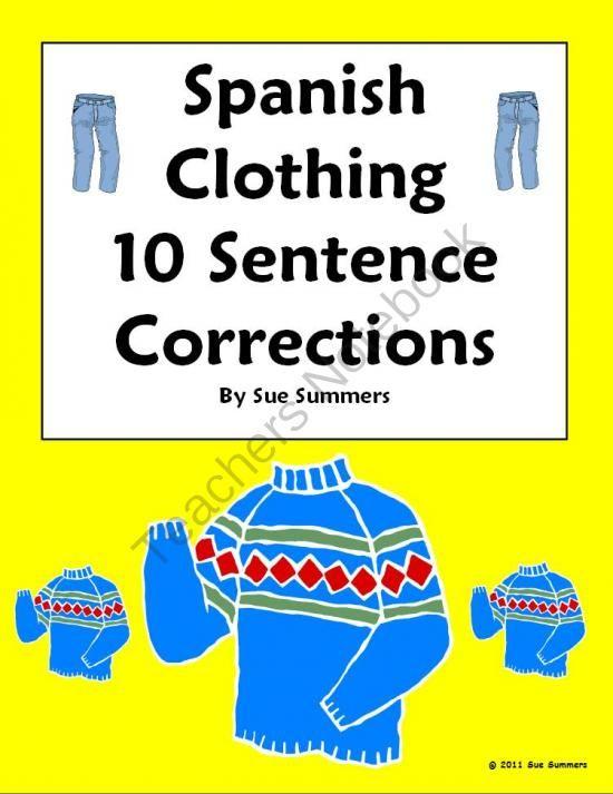 Spanish Clothing Sentence Correction Picture Id Worksheet La