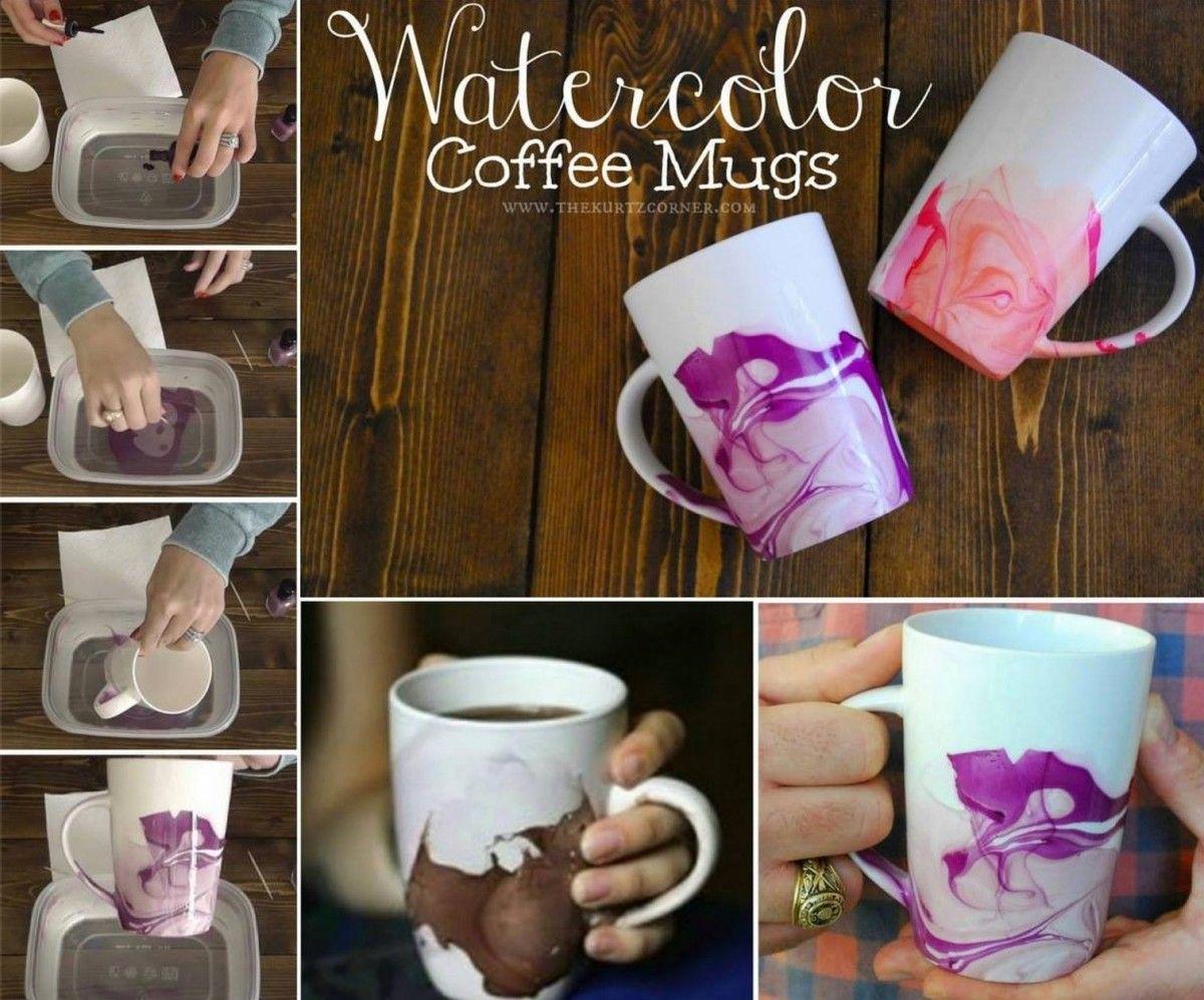 Nail Polish Water Marbling Technique Mug Crafts Diy Christmas Mugs Diy Watercolor