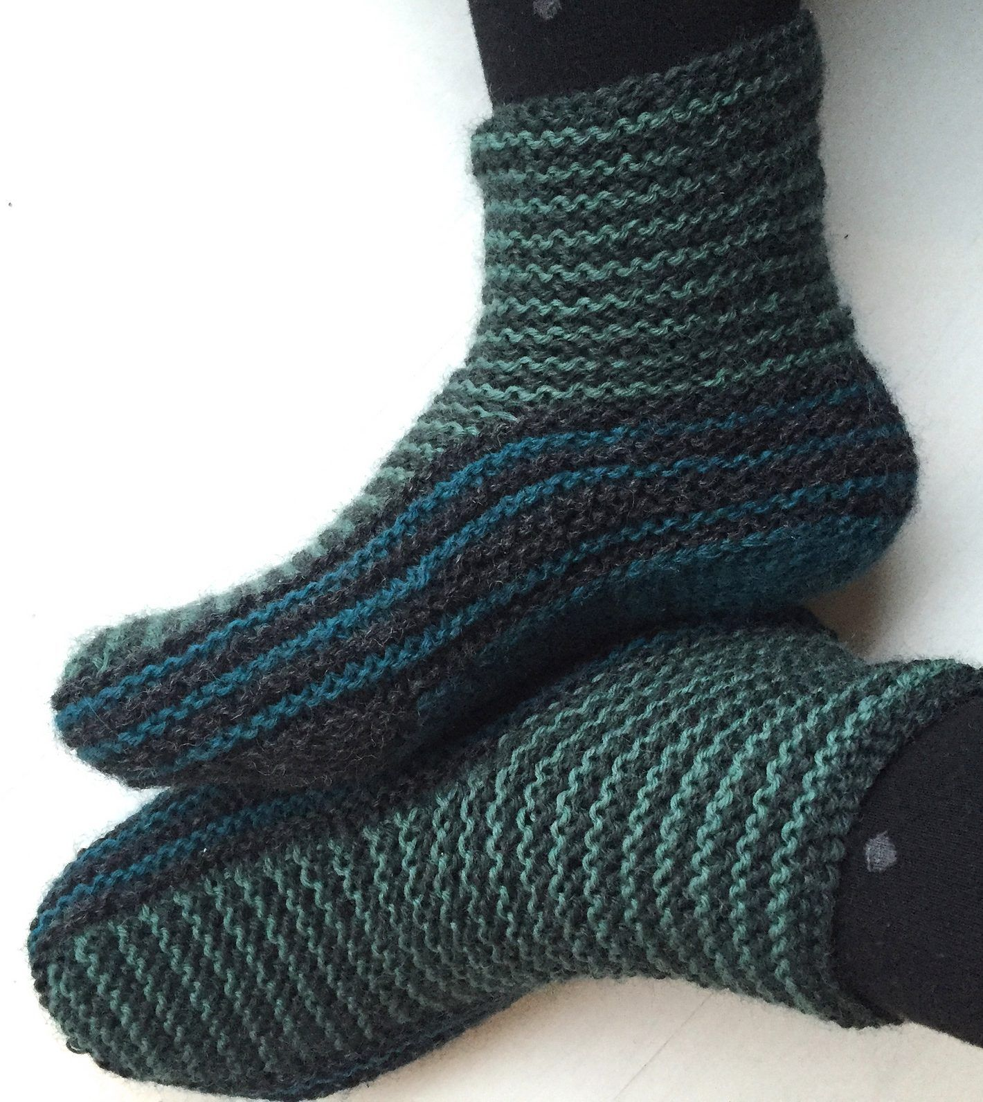 Knit Slippers Pattern : Free Knitting Pattern for Grown-Up Garter Booties - Maria ...