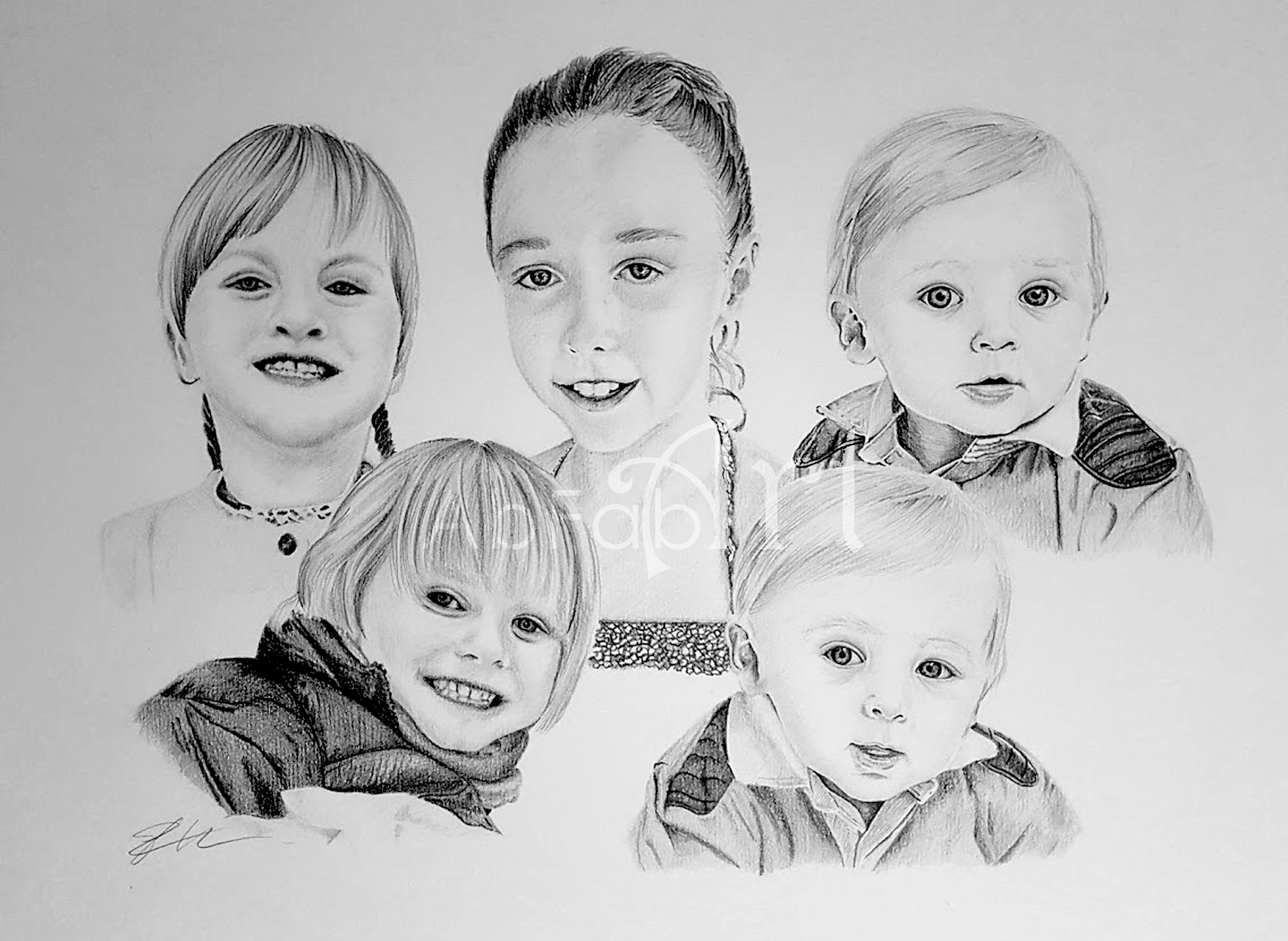 A3 graphite family portrait by trudy harper people portraits in