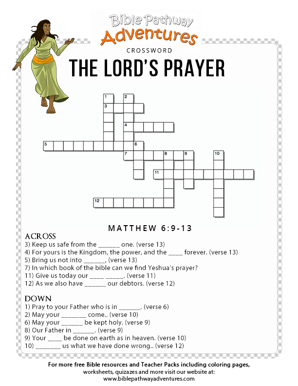 photo relating to Printable Bible Crossword Puzzles With Scripture References called Bible Crossword Puzzle: The Lords Prayer (Yeshuas Prayer