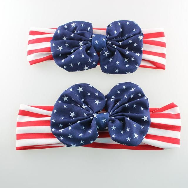 a8dfd77230e Mom and Me Turban Headband American Flag 4th of July Girls and Mommy  Headwrap Gifts1Set 2pcs lot