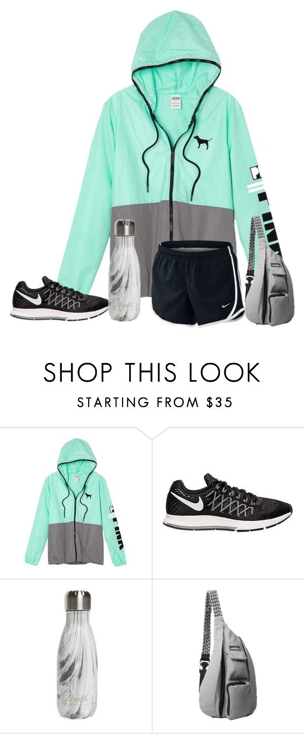 """simple comfy PINK!"" by alexislynea-13 ❤ liked on Polyvore featuring Victoria's Secret, NIKE, S'well and Kavu"