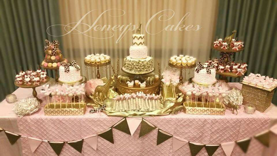 Pink And Gold Safari Cake And Dessert Table By Honey S Cakes Wwwwww Honeysca Baby Shower Party Decorations Gold Safari Baby Shower Pink And Gold Safari Party