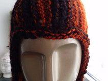 Mützen-Schal Set in orange/schwarz