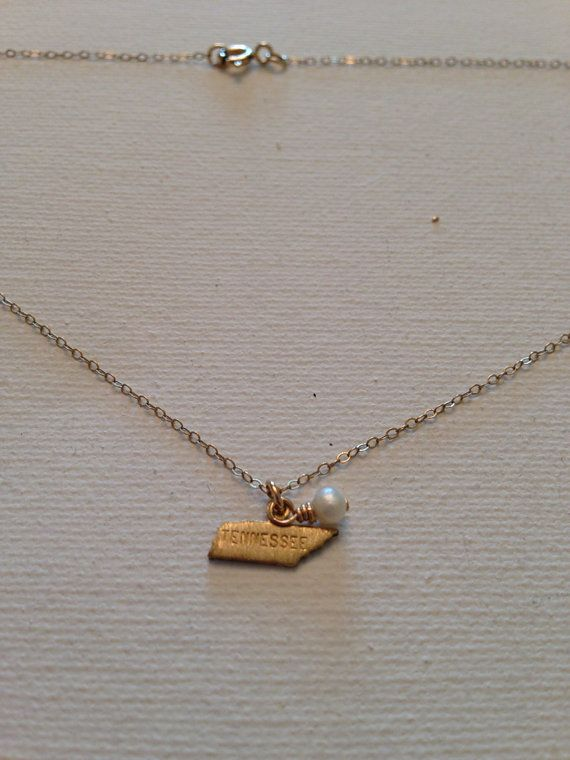 Tennessee state charm necklace by MariahBennett on Etsy, $28.00