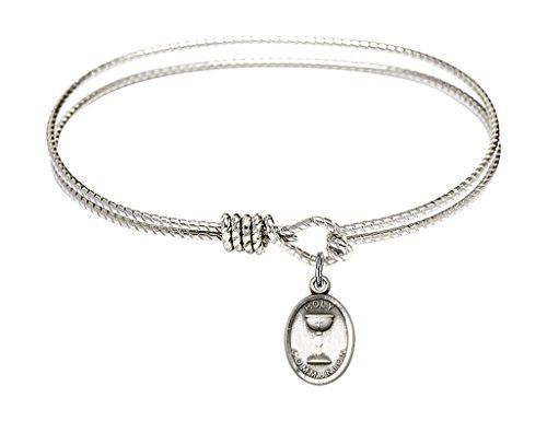 6 1//4 Inch Rhodium Plate Textured Bangle Bracelet with Oval Baptism Shell Charm