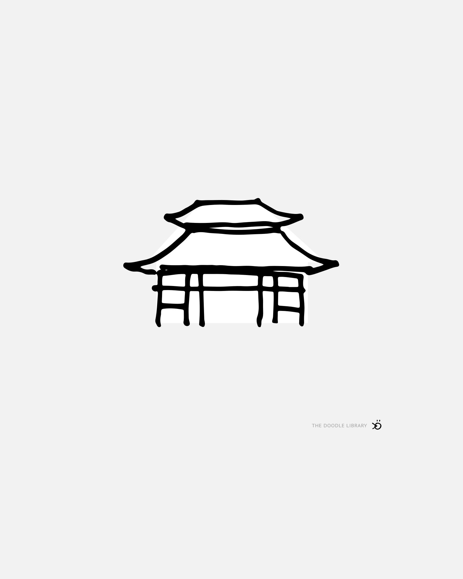 Japanese Temple Cute Easy Drawings Japanese Drawings Easy Drawings