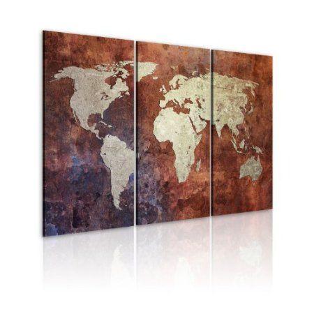 XXL Format + Top Bild Leinwand + 3 Teilig + Weltkarte + Wandbilder - amazon wandbilder wohnzimmer