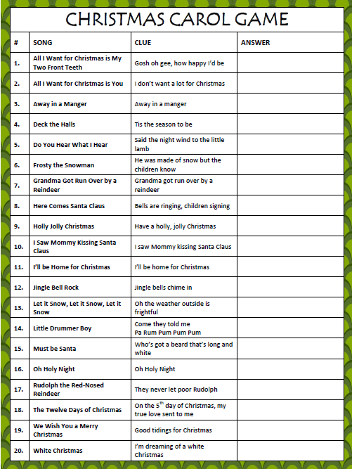 this free printable christmas carol game will test your memory singing skills this is a great game to play with family friends during the holidays