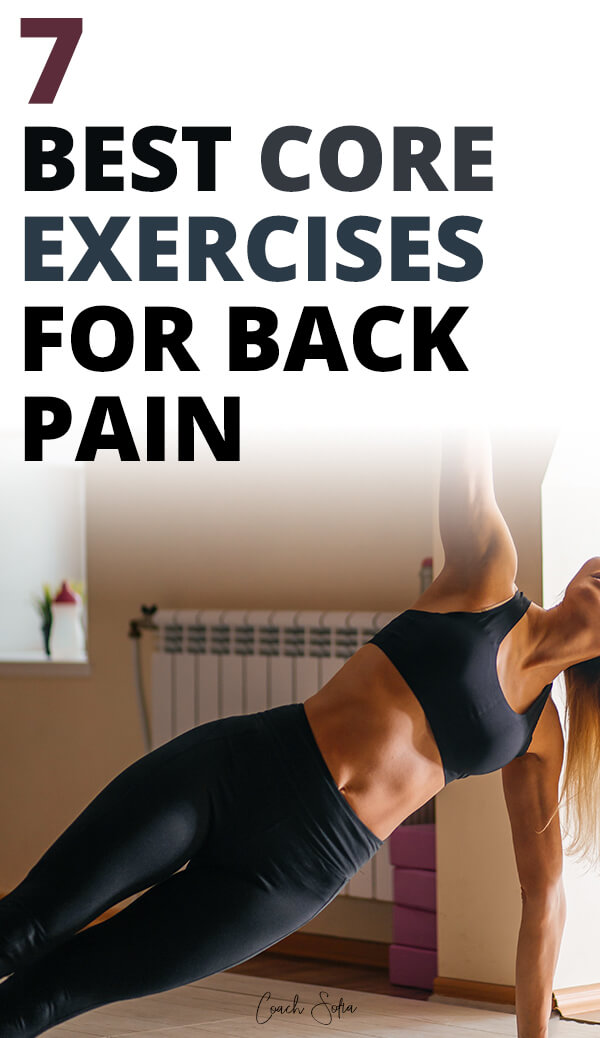 The best core exercises to do at home for back pain. Strengthen your deeper core muscles, stabilize your spine and hips and get relief from lower back pain with these strengthening exercises. Video tutorial included to show you how to do them with proper form