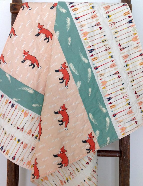 Baby Girl Quilt Fox Bow And Arrow Feathers Woodland