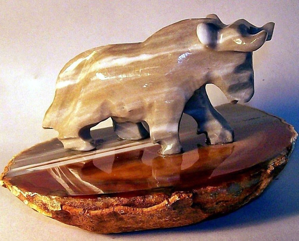 Potent Gray Onyx Bull Figurine on Thick Polished Brazilian