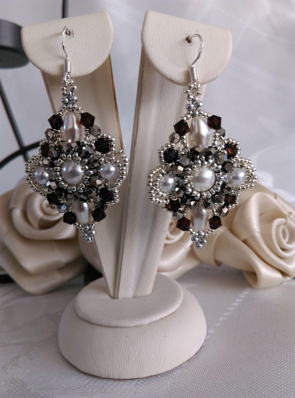 VictorianPearl Earrings SilverOval EarringsSwarovski Pearls Decorative Shell EarringsWhit VictorianPearl Earrings SilverOval EarringsSwarovski Pearls Decorative Shell Ear...