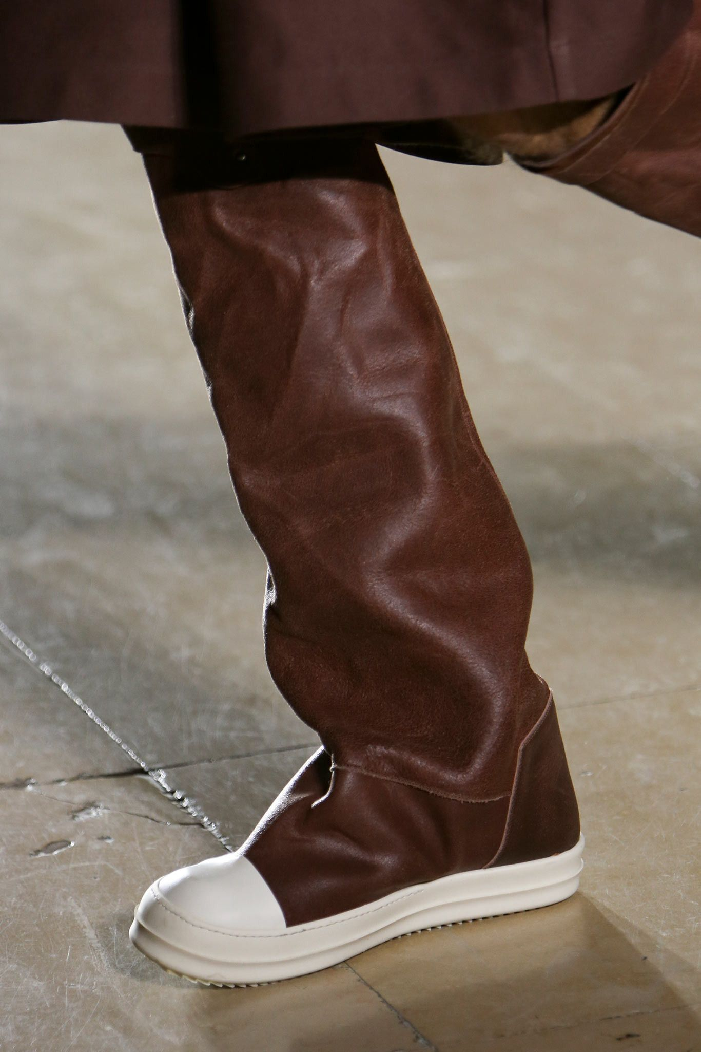 b46d615250de Brown leather white sole knee high sneaker boots. Rick Owens ...