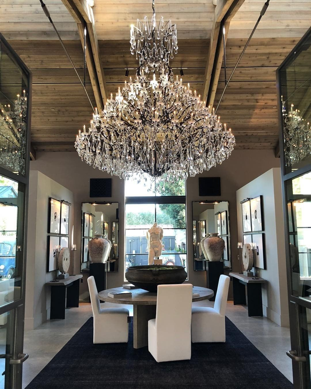 Rh Is Open In Yountville This First Of Its Kind Wine Country Compound Combines Food Wine Art And Design Dining Room Interiors Yountville Restaurant Interior