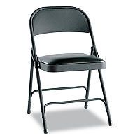 Alera Steel Folding Chair With Padded Seat Graphite 4 Pack