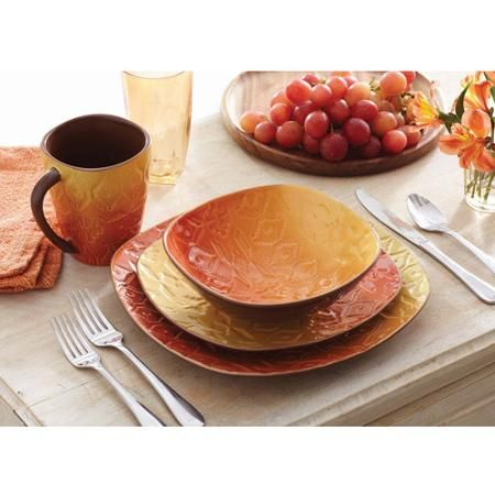 Better Homes and Gardens Southwest 16-Piece Square Dinnerware Set Orange  sc 1 st  Pinterest & Better Homes and Gardens Southwest 16-Piece Square Dinnerware Set ...