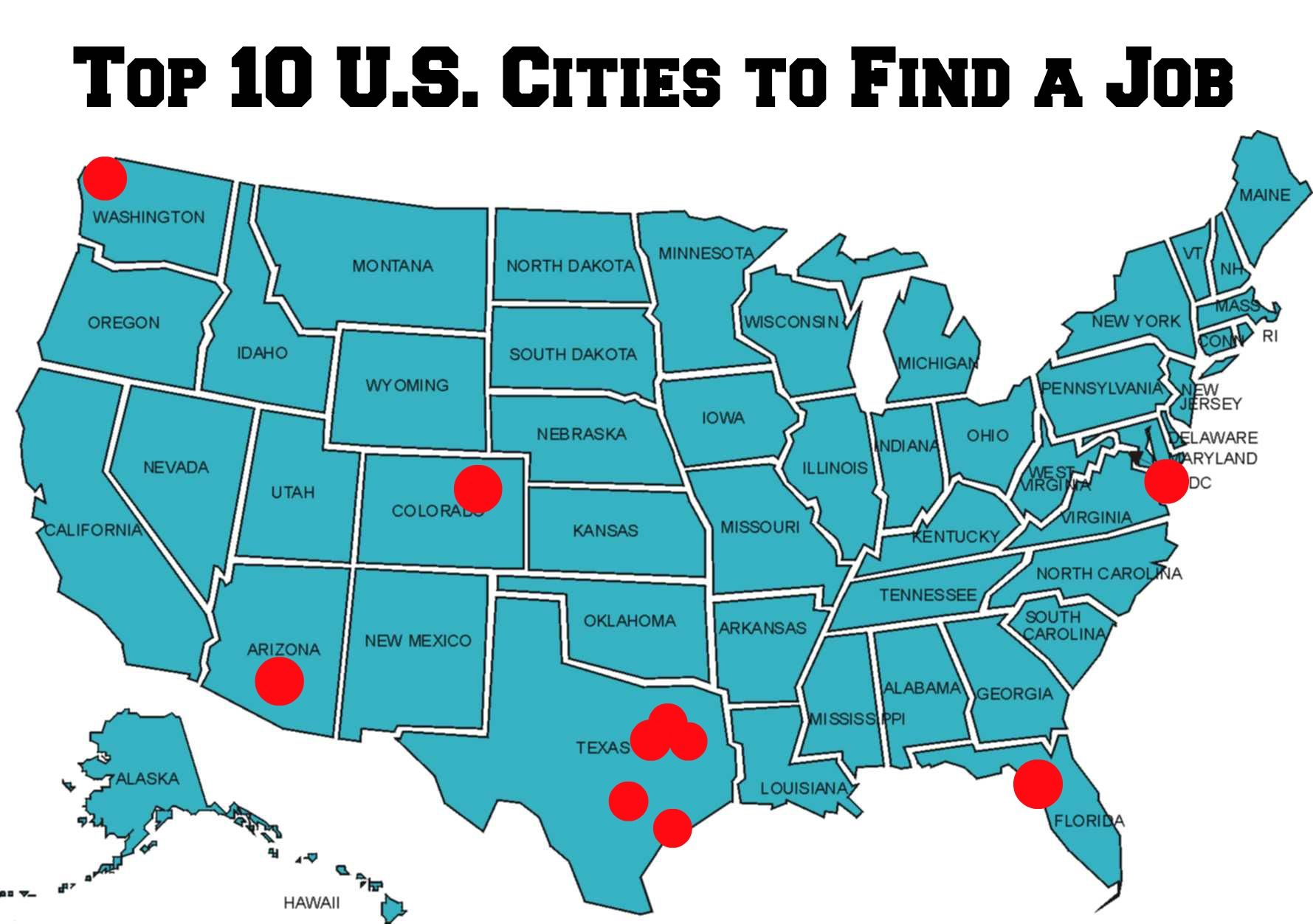 Top 10 U.S. Cities to Find a Job | United states map, State ...