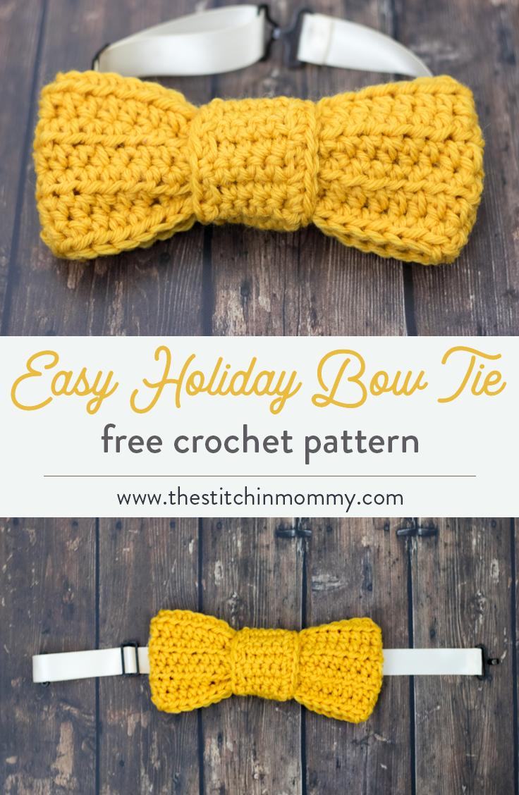 Easy Holiday Bow Tie - Free Crochet Pattern   Crochet bow ...