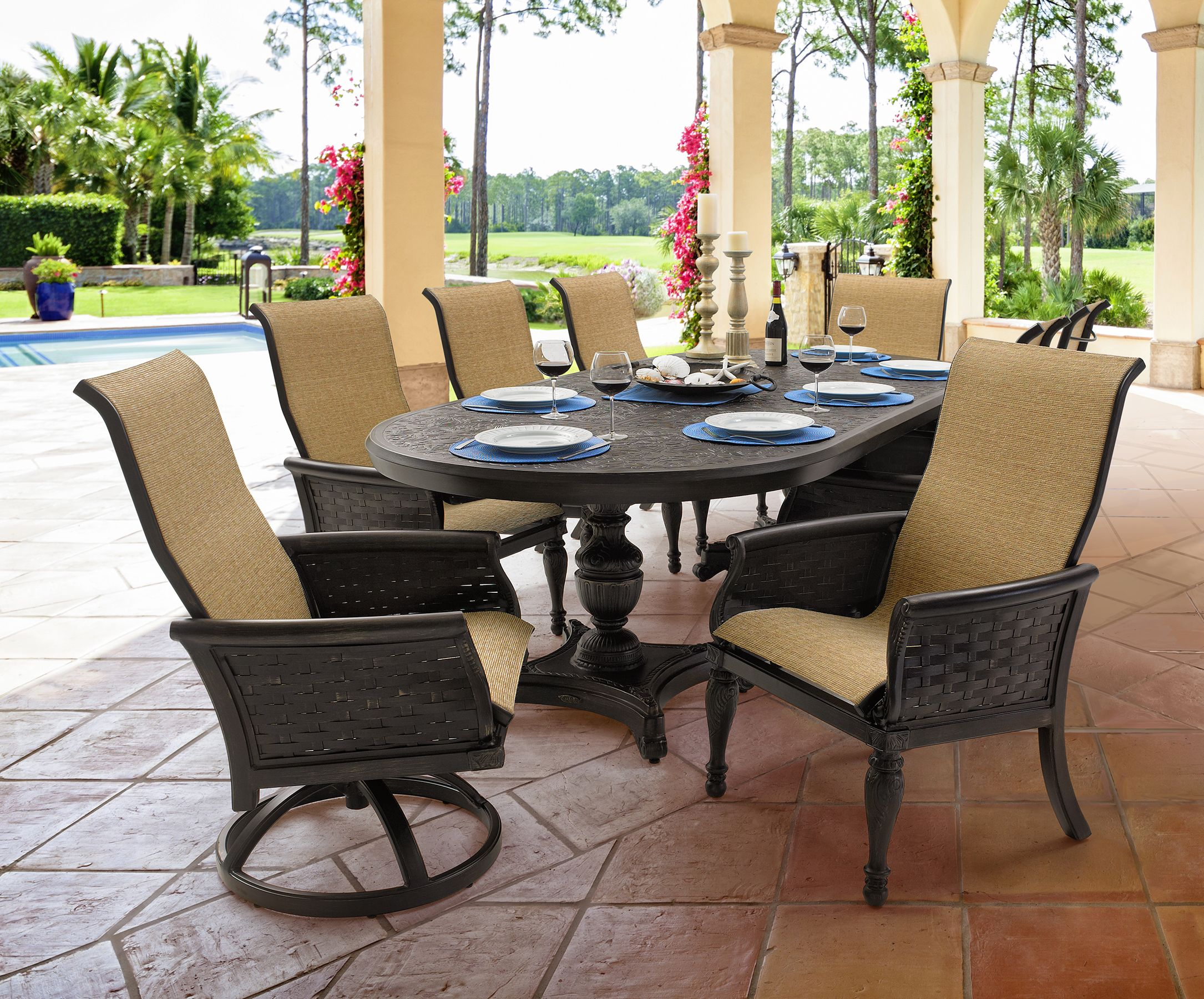 Sling Dining in English Garden Collection from Castelle by Pride