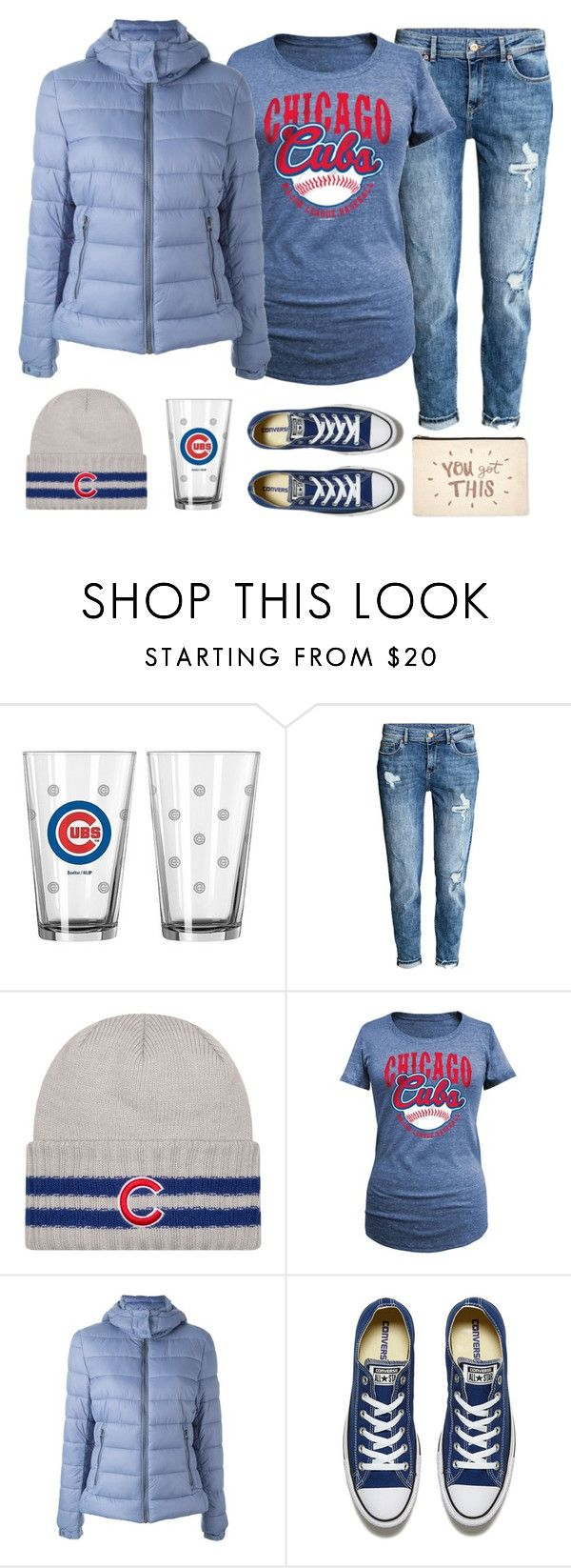 """""""You got this! Go Cubs!!!"""" by musicfriend1 ❤ liked on Polyvore featuring H&M, 5th & Ocean, Save the Duck, Converse and ALPHABET BAGS"""